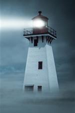 Leuchtturm, Licht, Nebel, Nacht