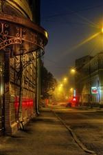Aperçu iPhone fond d'écranMoscou, nuit, route, maisons, lumières, Russie