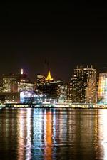 Aperçu iPhone fond d'écranNew York, la baie, les gratte-ciel, les lumières, l'eau, la nuit, les États-Unis