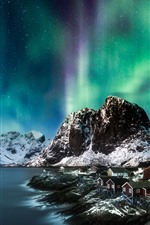 Preview iPhone wallpaper Northern lights, mountains, snow, sea, winter, houses, night, Norway