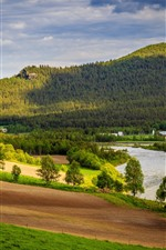 Preview iPhone wallpaper Norway, Dovre, trees, mountains, meadow, house