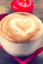 Preview iPhone wallpaper One cup coffee, love heart, foam, red ribbon