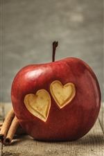 Preview iPhone wallpaper One red apple, two love hearts