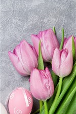 Preview iPhone wallpaper Pink tulips, water droplets, Easter eggs