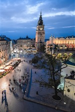 iPhone обои Польша, Краков, улица, город, дома, огни, ночь