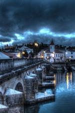 Preview iPhone wallpaper Portugal, Santarem, bridge, river, houses, lights, clouds, storm
