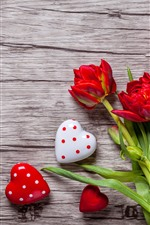Preview iPhone wallpaper Red tulips, love hearts, wood board, romantic