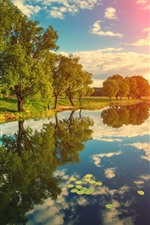 Preview iPhone wallpaper River, trees, water reflection, clouds, sunshine, nature landscape