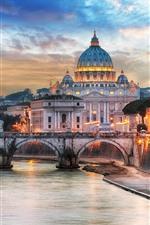 Aperçu iPhone fond d'écranRome, palais, pont, rivière, lumières, crépuscule, cathédrale