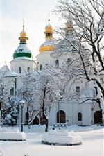 Aperçu iPhone fond d'écranCathédrale Saint Sophia, Ukraine, Arbres, Hiver, Neige