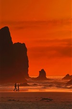 Preview iPhone wallpaper Sea, rocks, silhouette, clouds, sunset, red sky