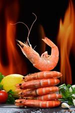 Preview iPhone wallpaper Shrimp, tomato, lemon, fire
