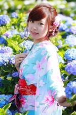 Sorriso menina japonesa, quimono, flores, sol, primavera