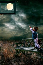 Preview iPhone wallpaper Stairs, father, boy, moon, clouds, grass, bench, photo, creative picture