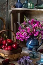 Still life, cherry, pink flowers, books, coffee