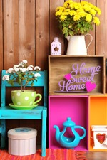 Preview iPhone wallpaper Sweet Home, decoration, flowers