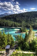 iPhone обои Швейцария, озеро озеро, лес, деревья, остров