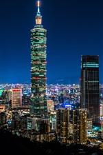 Taipei 101 здание, Тайвань, небоскребы, огни, ночь, город