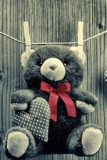 Urso de pelúcia, brinquedo, corda, amor coração, estilo preto e branco