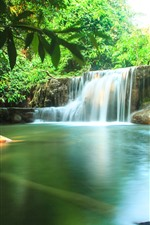 Preview iPhone wallpaper Thailand, nature scenery, waterfalls, water, green trees