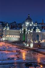 Aperçu iPhone fond d'écranLe palais des agriculteurs, Kazan, ville, neige, lumières, nuit