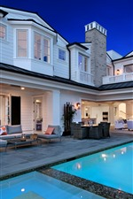 Preview iPhone wallpaper Villa, Newport Beach, pool, interior, lights, chairs