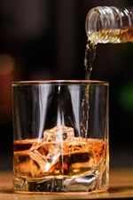 Preview iPhone wallpaper Whiskey, alcohol, glass cup, ice cubes