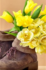 Preview iPhone wallpaper Yellow tulips, flowers, shoes