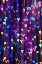 Aperçu iPhone fond d'écranBeaucoup de cœurs d'amour coloré, lumières, brumeuses