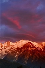 Preview iPhone wallpaper Alps, Mont Blanc, mountains, snow, clouds, dusk