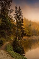 Vorschau des iPhone Hintergrundbilder Herbst, Nebel, Bäume, Fluss, Naturlandschaft