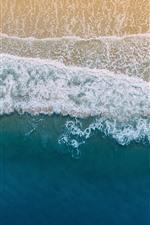Preview iPhone wallpaper Beach, top view, sea, foam, coast