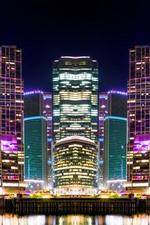 Vorschau des iPhone Hintergrundbilder Schöne Stadtnacht, Moskau, Wolkenkratzer, Lichter, Fluss, Russland