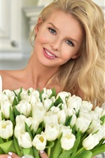 Preview iPhone wallpaper Blonde girl, white tulips