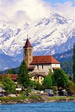 Preview iPhone wallpaper Brienz, Switzerland, village, houses, lake, mountains