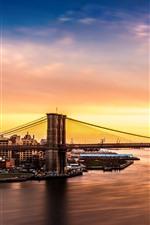 Vorschau des iPhone Hintergrundbilder Brooklyn, Brücke, Fluss, Gebäude, Sonnenuntergang, Stadt, USA