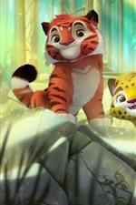 iPhone обои Мультфильм, два милых тигра