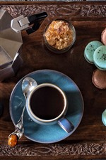 iPhone обои Кофе, чашка, пирожные, макарон, молоко