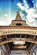 Preview iPhone wallpaper Eiffel Tower, blue sky, white clouds, Paris