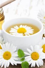 iPhone обои Цветы Чай, Ромашка, Чашка, Мед, Сахар
