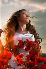 Aperçu iPhone fond d'écranFille, coiffure, fleurs de coquelicot rouge, soleil