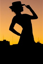 Preview iPhone wallpaper Girl, pose, silhouette, night