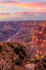 Preview iPhone wallpaper Grand Canyon, USA, red rocks, river, dusk