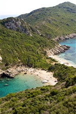 Preview iPhone wallpaper Greece, Corfu, sea, beach, rocks