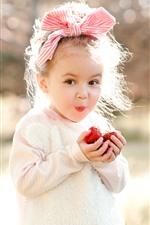 Menina feliz, criança, morango, luz do sol, brilho