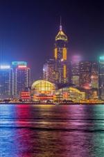 Hong Kong, Cidade, Noite, Mar, Arranha-céus, Luzes