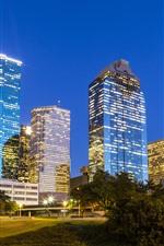 Vorschau des iPhone Hintergrundbilder Houston, Lichter, Wolkenkratzer, Gras, Texas, USA