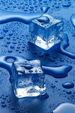 Preview iPhone wallpaper Ice cubes, water droplets, blue background