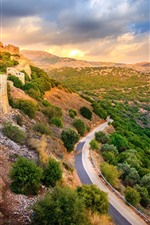 Preview iPhone wallpaper Israel, Golan Heights, road, fortress, clouds, sunset