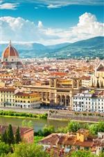 iPhone обои Италия, Флоренция, Европа, город, здания, река